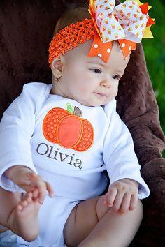 Fall Pumpkin Monogrammed Onesie or Shirt. $22.00, via Etsy.