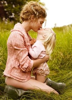 Mom and daughter in field kissing, fashion, portrait, child, girl, nature