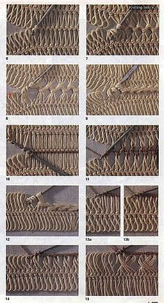 Crochet Tutorial Ideas various methods of joining hairpin lace crochet - some a sort of cable using no extra yarn, others basic crochet stitches; just had another look - this is hairpin heaven! scores of detailed charts, pics on hairpin techniques Crochet Diy, Crochet Basics, Love Crochet, Crochet Motif, Crochet Crafts, Crochet Stitches Patterns, Knitting Stitches, Crochet Designs, Hairpin Lace Patterns