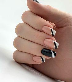 Cute Acrylic Nails, Cute Nails, Pretty Nails, Classy Nails, Stylish Nails, Black Nail Designs, Nail Art Designs, Nails Design, Perfect Nails