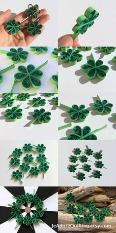 Clover Shamrock Green St.Patrick's Day Party Confetti Dinner Ornaments Party Decorations Gift Fillers Paper Quilling Art Scrapbooking