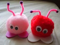 http://daisydayz.hubpages.com/hub/Simple-Valentines-Day-Crafts-for-Children-to-give-to-Friends Fun for the kiddos to make to give to their friends. *Pink and Red Pom Poms *Purple mini pom poms or get some small beads *Foam Hearts *Google Eyes *Pipe Cleaners *Glue