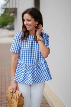 Asos Petite Sleeveless Peplum Top In Gingham « voguee. Kurta Designs Women, Blouse Designs, Frock Fashion, Fashion Outfits, Bow Back Top, Stylish Dresses For Girls, Preppy Dresses, Trendy Tops, Blouses For Women