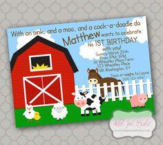 On the Farm birthday printable 5x7 4X6 or 4x5.5 party invitation on Etsy, $6.00