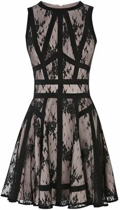 Karen Millen Sheer Lace and Soft Fabric Dress in Multicolor (black multi) | Lyst