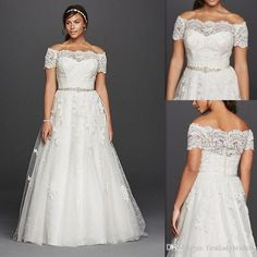 Plus Size Wedding Dresses Off The Shoulder Sheer Lace Short Sleeves Bridal Gowns Tulle Appliques Beaded White Cheap Big Dress For Fat Brides Mermaid Wedding Gowns New Wedding Dresses From Firstladybridals, $98.49| Dhgate.Com