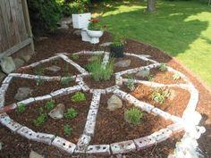 """""""Wagon Wheel"""" Herb Garden made out of bricks. Herb Garden Design, Garden Edging, Garden Art, Medicine Garden, Medicine Wheel, Garden Spaces, Garden Beds, Wagon Wheel Garden, Backyard Farmer"""
