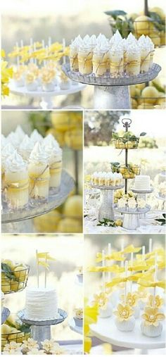Dulces apetecibles para una fiesta amarillo y gris / Appealing desserts for a yellow and grey party Dessert Party, Party Desserts, Dessert Tables, Party Tables, Dessert Cups, Wedding Desserts, Summer Desserts, Dessert Ideas, Cake Ideas