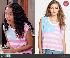 Zoey's American flag top on Black-ish.  Outfit Details: http://wornontv.net/45789/ #Blackish