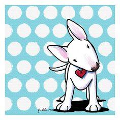 Bull Terrier dog art print by children's book Illustrator, Kim Niles of KiniArt studios.