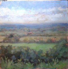 "Over looking the boyne valley tara.oil on panel.10""x10""."