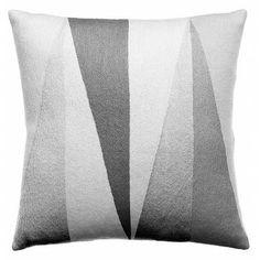 Judy Ross Textiles Hand-Embroidered Chain Stitch Blade Throw Pillow cream/fog rayon/dark grey
