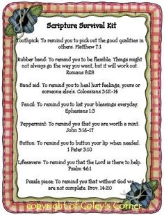 Coley's Corner: Scripture Survival Kit