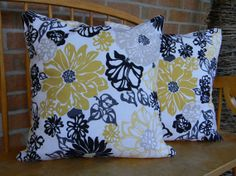 Beautiful Yellow Black and Grey Pillow Cover by LittleSparrowDecor, $18.00
