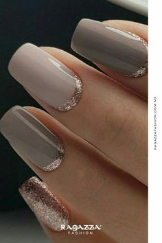Classy but Unique Wedding Manicure Rose Gold Gel Nail Art Design for the Bride … - Nail Art Designs Manicure Rose, Manicure And Pedicure, Reverse French Manicure, Trendy Nails, Cute Nails, My Nails, Classy Nails, Fancy Nails, Long Nails
