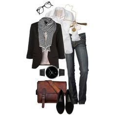 Boyfriend Blazer by simple-wardrobe on Polyvore featuring Banana Republic, 7 For All Mankind, Rebecca Minkoff, Georg Jensen, Maria Zureta and Vero Moda