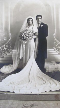 1940 this picture is priceless b/w, the dress and veil and the regal of the pictures say it all I love it