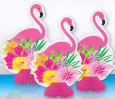 Pack OF 3 Honeycomb Flamingo Hibiscus Centrepiece Luau Party Table Decoration   eBay