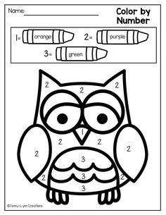 Your students will love this math and literacy packet with a fun Fall/ Halloween theme! Owls Kindergarten, Owl Preschool, Preschool Colors, Numbers Preschool, Preschool Worksheets, Preschool Classroom, Kindergarten Activities, Kindergarten Coloring Pages, Atelier Theme