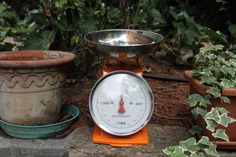 Retro kitchen scale. Orange colour, made in Italy by Brandani, 2 kg. The body is made of orange enamelled metal, the tray is made of steel di AnticoborgodiArola su Etsy