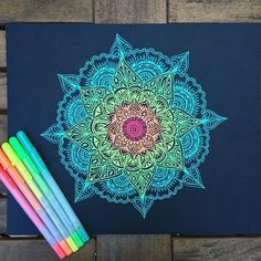 And videos from ( diy art, mandala drawing, mandala a Sketch Book, Pen Art, Art Drawings, Drawings, Doodle Art, Mandala, Mandala Design Art, Art, Art Journal