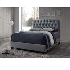 Baxton Studio Romeo Contemporary Espresso Full-size Button-tufted Grey Upholstered Bed - Overstock Shopping - Great Deals on Baxton Studio Beds Upholstered Full Bed, Tufted Bed, Upholstered Platform Bed, King Headboard, Murphy Bed Plans, Grey Bedding, Queen Bedding, Luxury Bedding, Panel Bed