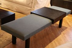 sleek bench with built-in table