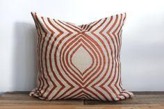 Throw Pillow Cover hand printed in metallic copper on natural ecru organic hemp 20x20 Aya Contour. $70.00, via Etsy.