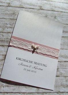 Kirchenheft Vintage Spitze Schlüssel Kirchenheft Hochzeit misty rose www.kartenmanufaktur-arndt.de: