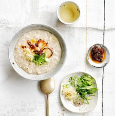 Brown rice congee with ginger and chilli-black bean sauce recipe :: Gourmet Traveller Small Food Processor, Food Processor Recipes, Black Bean Sauce Recipe, Rice Congee, Vegetarian Recipes, Healthy Recipes, Healthy Food, Healthy Meals, Asian Recipes