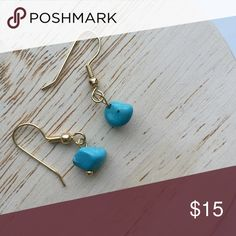 ✨NEW LISTING✨ Turquoise Earrings Handmade turquoise and gold earrings. Non-nickel and hypoallergenic posts. Multiple pairs available. Great for gifts and comes with packaging as shown in cover photo.  ✨10%✨off with bundle!  ⭐️Suggested User⭐️ 💌Fast Shipping💌 💎Non-Smoking💎 🚫No trades/PayPal🚫 🎀Open to fair offers🎀 📷Instagram: laurentopor📷 💟Tumblr: nearlynewbylo💟  ✨ Happy Poshing ✨ Handmade Jewelry Earrings
