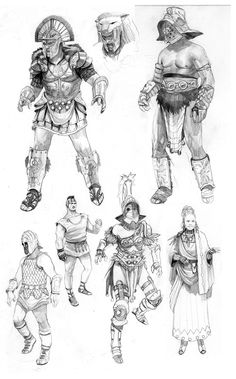 Gladiator Concepts || CHARACTER DESIGN REFERENCES | Find more at https://www.facebook.com/CharacterDesignReferences if you're looking for: #line #art #character #design #model #sheet #illustration #expressions #best #concept #animation #drawing #archive #library #reference #anatomy #traditional #draw #development #artist #pose #settei #gestures #how #to #tutorial #conceptart #modelsheet #cartoon