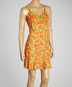 Look what I found on #zulily! Orange & Yellow Floral V-Neck Dress #zulilyfinds