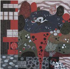 LAGO DELLA NOTTE - COSTELLAZIONE DEL DORMIENTE    Marianna Bussola  2010 ---   acrilici e matite su tela 70x70 --- Il buio e profondo lago blu, lo splendore pallido delle stelle, i sogni di chi sogna... Le calde profondità della terra, la vita delle piccole creature, la vita delle case... Nella notte nera, la pioggia cade sulla terra, disegnando cerchi d'argento nel fango delle pozzanghere