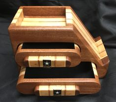 ***NFS*** This bandsaw box/phone stand was custom made for a coworker. It is made of sapele, reclaimed cabinet plywood and myrtle from a tree that was blown down in my friends yard in Oregon state. It has US Army emblems inlaid in the handles.