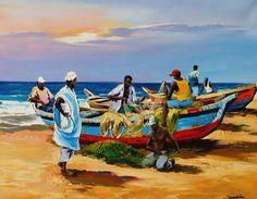 peinture de christian jequel Art Gallery, Painting Gallery, Boat Painting, Figure Painting, Painting Tips, Art Du Croquis, Z Arts, Art Store, African Art