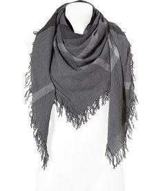 Mid Grey Melange Check Wool Scarf