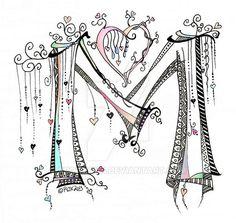 Lettering - M - Zentangle - Dangle - Monogramme by rroxyann on deviantART Mehr Doodle Alphabet, Caligraphy Alphabet, Hand Lettering Alphabet, Doodle Lettering, Alphabet Art, Creative Lettering, Letter Art, Lettering Design, Typography