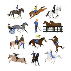 Buy Vector Set of Horse Riders Icons by skypicsstudio on GraphicRiver. Vector set of horse riders icons. Horseback riding, cowboy with lasso, horse on its hind legs, equestrian sportsman, . Horse Template, Horse Treats, Horse Illustration, Elderly Activities, Horse Logo, Racehorse, Vector Portrait, Equine Art, Horseback Riding