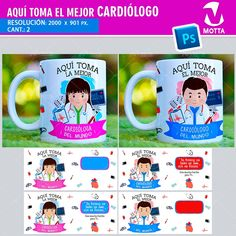AQUÍ TOMA MEJOR CARDIÓLOGO PLANTILLAS PARA TAZAS #mottaplantillas #sublimation #profesion #tazas Mugs, Tableware, Ideas, Vases, Medical Party, Corporate Photography, Personalized Cups, Dinnerware, Cups