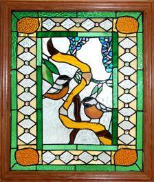 Chickadee stained glass window, Midland Park, custom stained glass