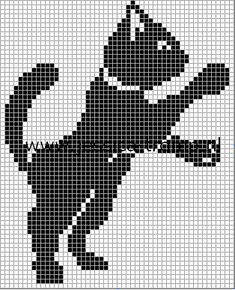 borduren poes kruissteekpatronen cats cross stitch charts (15) simple cat cross stitch but would be cute on a child's shirt with the paw appearing to be reaching for a button or something in a pocket.