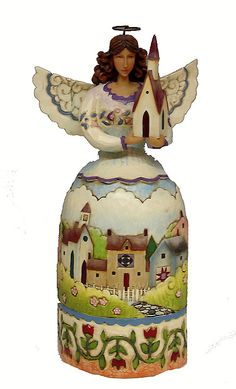 """JIM SHORE  ANGEL WITH CHURCH  Resin 10.5"""""""