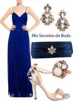Aretes para vestido de noche azul