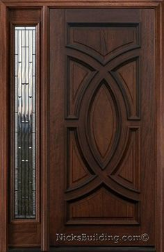 Exterior Entry Doors with 1 Sidelight - Solid Mahogany Entry Doors - Home Decor Exterior Entry Doors, Wooden Doors, Mahogany Entry Doors, Mahogany Exterior Doors, House Doors, Exterior House Doors, Wood Doors Interior, Front Door Design, Doors
