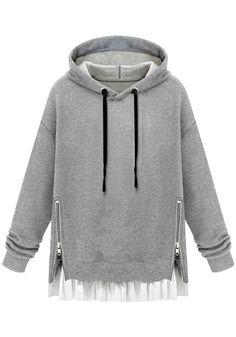 Grey Zipped Pullover Hoodie - Tie Closure At Hood