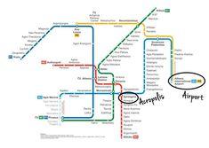 Athens Metro Map (December English) - Athens Metro - Wikipedia, the free encyclopedia Athens Map, Athens Metro, Athens City, Crete Greece, Santorini Greece, Travel Info, Travel Tips, Travel Destinations, Budget Travel