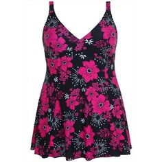 Black & Pink Floral Print Princess Seam Swimdress With TUMMY CONPlus... ($45) ❤ liked on Polyvore featuring swimwear, one-piece swimsuits, plus size swimsuits, pink one piece swimsuit, plus size one piece swimsuits, padded one piece swimsuit and swimdress bathing suits