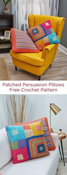 Patched Persuasion Pillows Free Crochet Pattern in REd Heart Super Saver yarn -- These colorful pillow patterns look amazing although they are easy pattern stitches that beginner crocheters can do. Weve included patch pillow and stripe pillow options. Crochet Cushion Cover, Crochet Pillow Pattern, Crochet Motifs, Crochet Cushions, Knit Pillow, Pillow Patterns, Free Crochet, Crochet Ideas, Crochet Patterns