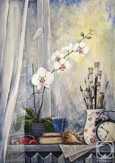 Каминская Мария. натюрморт с орхидеей